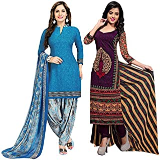 Rajnandini Women's Blue And Purple Cotton Printed Unstitched Salwar Suit Material (Combo Of 2) (Free Size)