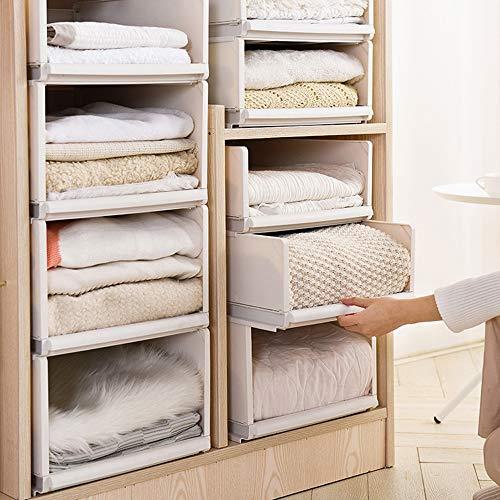 Mdurian Stapelbare Regal Kleiderschrank Organizer Schubladenbox Teiler Kleideraufbewahrungskorbhalter Schrank-Organizer für Kleidung Küchen Schlafzimmer