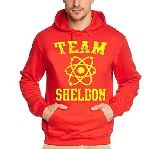 Coole-Fun-T-Shirts Sweatshirt Team Sheldon - Big Bang Theory ! Vintage Hoodie, rot/gelb, XXL, 10750_Rot/gelb_HOODIE_GR.XXL