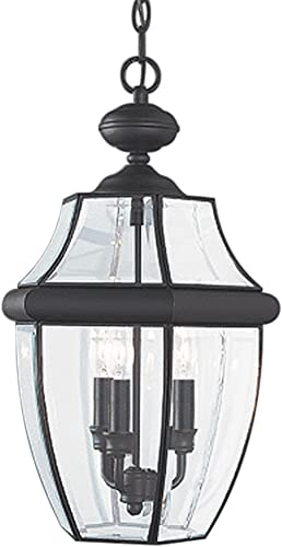 discount Sea Gull lowest Lighting 6039-12 Lancaster Outdoor Pendant Lantern Outside Fixture, Three - Light, discount Black outlet online sale