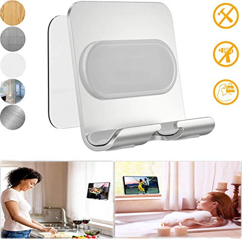 Wall Mobile Phone Holder Mount[Update Version], Aluminum Alloy Bracket with 1Pcs Adhesive Strip,