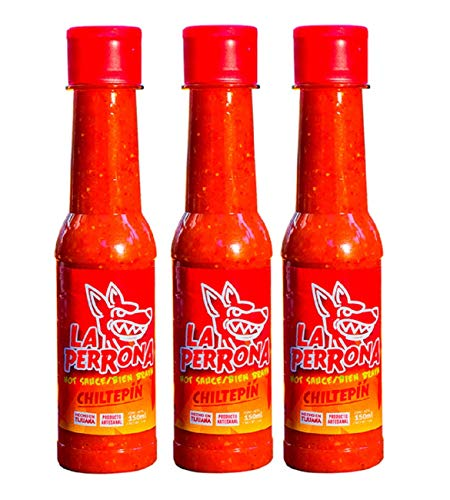 La Perrona Chiltepin Hot Sauce 5 Ounce Bottle   Red Chiltepin Pepper Salsa Picante   Extra Spicy   Handmade   3 Pack
