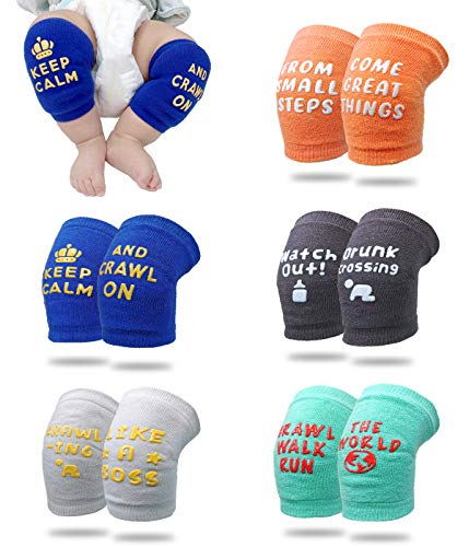 Fun-Plus Baby Knee Pads For Crawling - Anti Slip Knee Pads For Babies Infant Toddler Boys And Girls - Adjustable Breathable - Cute Funny Quotes - 5 Pair Set - 6 to 18 Month