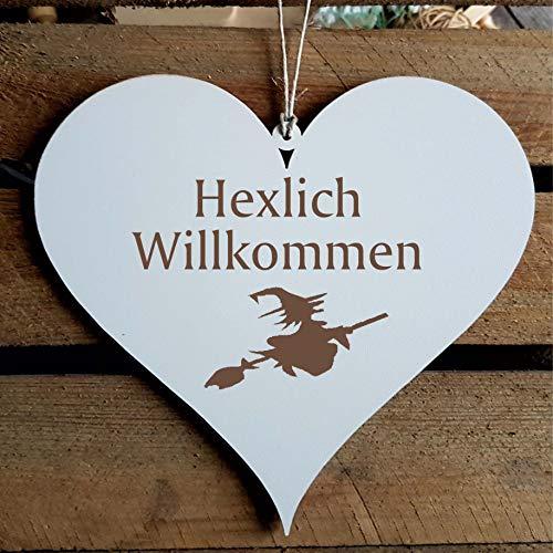 Schild Herz Hexlich Willkommen - mit Motiv Hexe - Türschild