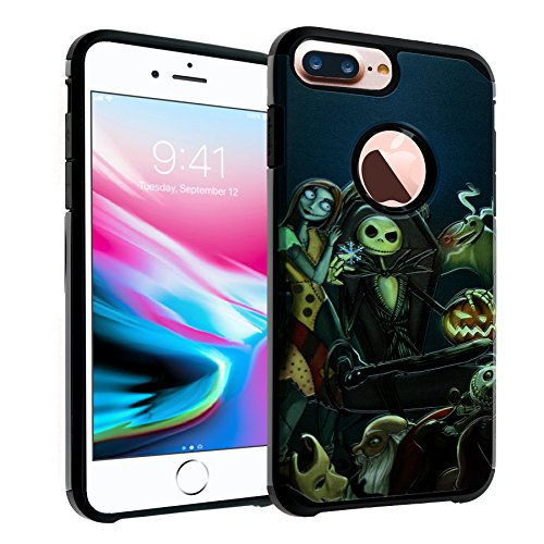 The Nightmare Before Christmas iPhone 8 Plus Case, IMAGITOUCH 2-Piece Style Armor Case with Flexible Shock Absorption Case Cover for iPhone 8 Plus – Nightmare Before Christmas Hybrid