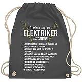 Shirtracer Handwerk - 10 Gründe mit einem Elektriker auszugehen - Unisize - Dunkelgrau - 10 turnbeutel - WM110 - Turnbeutel und Stoffbeutel aus Baumwolle