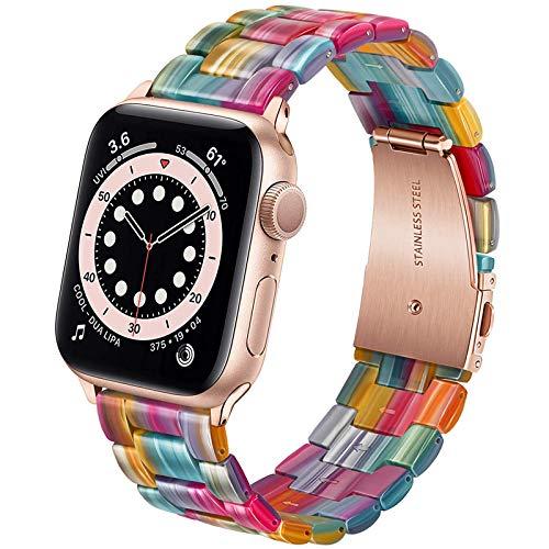 Miimall - Cinturino di ricambio per orologio Apple Watch serie 1, 2, 3, 4, 5, 6, SE, 40 mm, 38 mm, in resina e metallo, colore: Multicolore