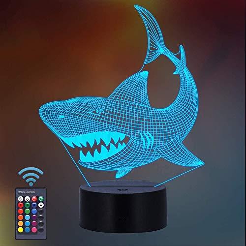 Luz nocturna 3D de tiburón para niños, diseño de tiburón 3D ilusión al lado de la lámpara de mesa con 16 colores cambiantes y mando a distancia, regalo de tiburón, regalo para niños de 7 6 5 4 3