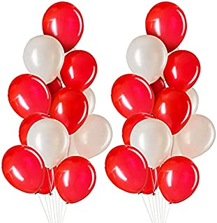 Party Propz Metallic Red, White Balloons Packet 50 Pcs For Happy Birthday Decoration Items/Balloon Decorations/ Kids Husba...