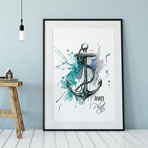 ilka parey wandtattoo-welt Anker Poster A3 Print Illustration Poster avec Motif Ancre et Inscription en Allemand p82