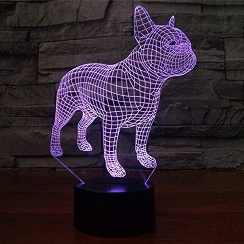 Led 3D Luz Nocturna Divertida Figura De Acción De Bulldog Francés 7 Colores Color Táctil Ilusión Óptica Lámpara De Escritorio Modelo De Decoración Del Hogar
