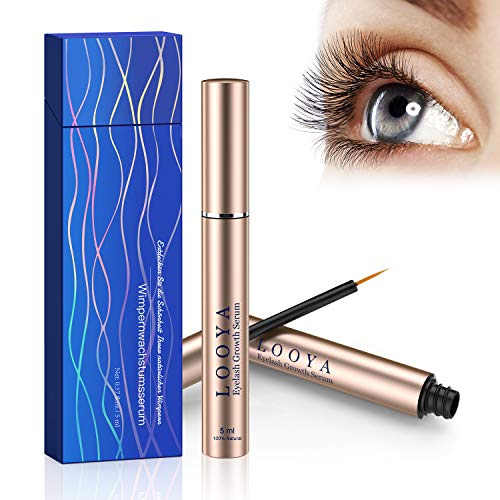 Wimpernserum, LOOYA Lashes Serum Wimpern Augenbrauenserum Wimpernbooster mit Natürlichen Inhaltsstoffen und Hormonfrei für Wimpernwachstum (5 Ml)