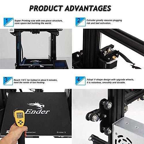 Comgrow Creality Ender 3 Impresora 3D de aluminio, Prusa i3, DYI, con reanudación de impresión, 220x220x250mm