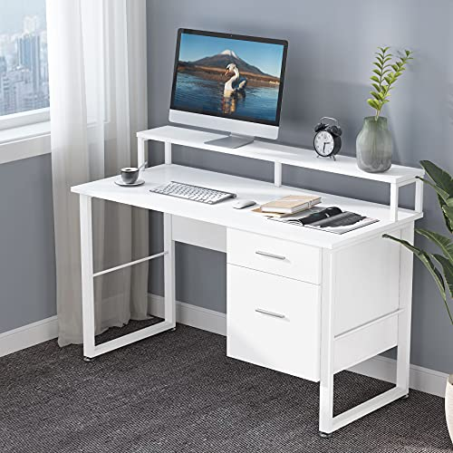 Tribesigns 47 Inches Large Desktop Writing Desk with 2 Drawers and PC Office Table Computer Desk with Hutch Home Workstation (White)