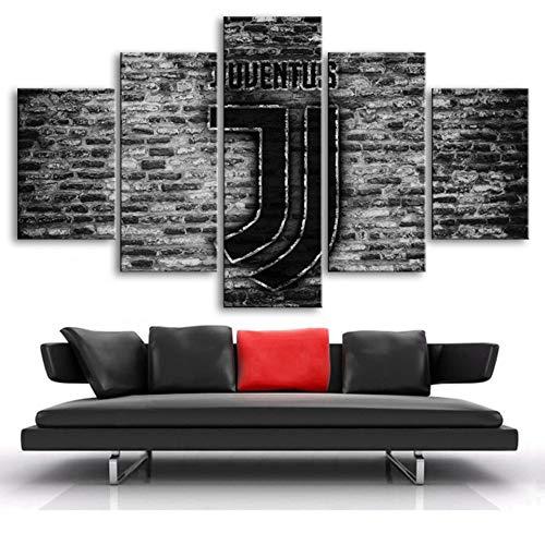 Agreey 5 Pezzi Stampa su Tela Football Star Logo Poster Stampa Juventus Flag Sportivi Dipinti su Tela Wall Stickers per Ragazzi Home Decor, Senza Cornice, 40X60 40X80 40X100cm