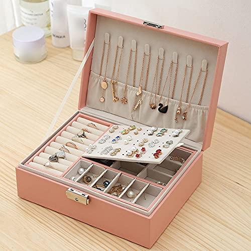 XGYUII Caja de joyería de doble capa, caja de almacenamiento de joyería de cuero caja de regalo de joyería