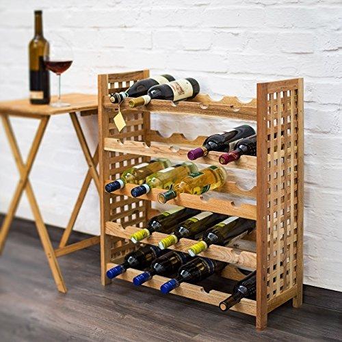 Relaxdays Weinregal Walnuss für 25 Flaschen HxBxT: 73 x 63 x 25 cm Flaschenregal Holz aus Walnussholz geölt mit 5 Etagen für je 5 Flaschen Weinflaschenregal, natur - 2