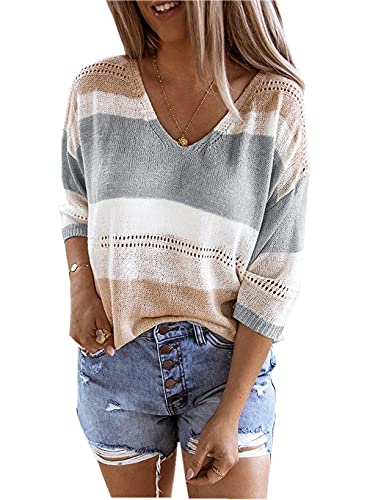 ZIYYOOHY Damen Grobstrick Strickpullover V-Ausschnitt Oversize Causal Langarmshirt Sweatshirt Pulli Outwear Mantel (M, 13019 Grau)