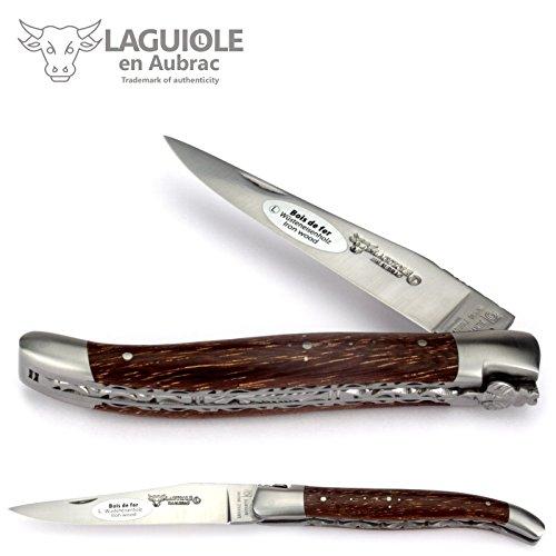 Laguiole Taschenmesser en Aubrac - Afrikanisches Wüsten-Eisenholz - 12 cm - Doppelplatine - Stahl matt - Messer Frankreich