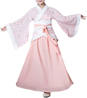 Girls Hanfu Child Ancient Chinese Traditional Cosplay Costumes Dress (160CM, Pink)