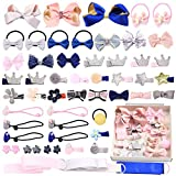 ZOCONE Baby Hair Clips and Hair Ties, 54pcs Cute Bow Hairpins Hair Bands Holders
