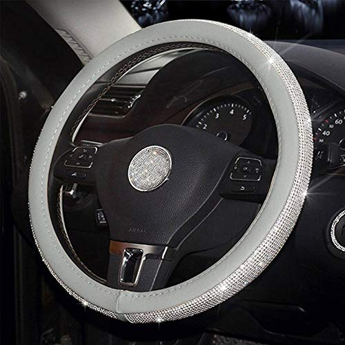 Auto-accessoires Auto Steering Wheel Covers Cap Steering Wheel Crystal Cover Auto Interieur Accessoires for Dames Meisjes ZHQHYQHHX (Color : Sliver wheel cover, Size : Free)