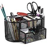 SITHON Mesh Desk Organizer, Multifunctional Office Desktop Stationery Organizer with Drawer, Pencil Holder, Home Office Supplies Desk Accessories Organizer, Black