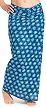 Pareo - Falda Sarong Unisex de la India, con Estampado a Mano Tradicional, Azul 3