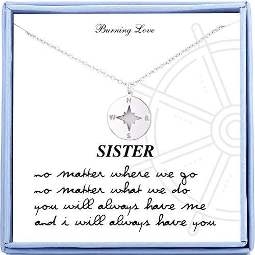 姉妹への贈り物 スターリングシルバー コンパスネックレス 親友ネックレス 女性/女の子/姉妹/誕生日ギフト