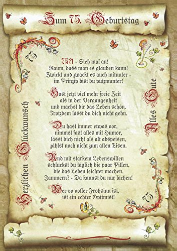Die Staffelei Geschenk 75. Geburtstag Gedicht Präsent Jubiläum