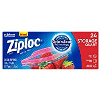 Ziploc Storage Bags Quart 24 Count box by Ziploc