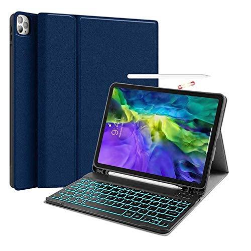 HHF Pad Accesorios para iPad Pro 11 2020, Funda de Teclado retroiluminada con Soporte de lápiz PU Cuero DE Cuero Cubierta TABOR DE Tabla DE Table para iPad Pro 11 2020 (Color : Azul)