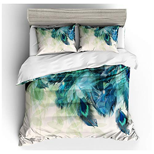 HOXMOMA 3D Printed Peacock Duvet Cover Set, Animal Pattern Summer Bedding Set 3 Piece, Decorative Comforter Cover with 2 Pillow Shams, All Season Quilt Covers for Boys Girls,White,US Queen