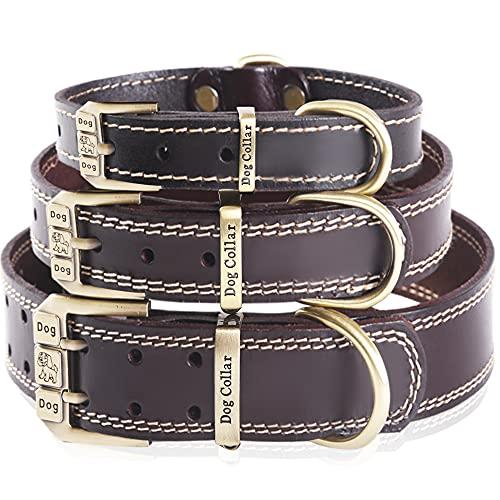 Collar de cuero genuino para perros - Collares de perro resistentes para perros de razas pequeñas, medianas y grandes (marrón S (cuello 30cm-40cm))