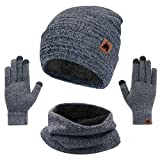 mysuntown Hat Scarf and Glove Set, Women Winter Hats 3-Piece, Beanie Neck Warmer and Touchscreen Gloves for Men (Grey)