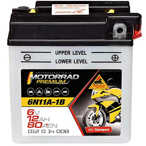 Motorradbatterie 6V 12Ah 80A Panther 6N11A-1B Batterie DIN 01214 Quad