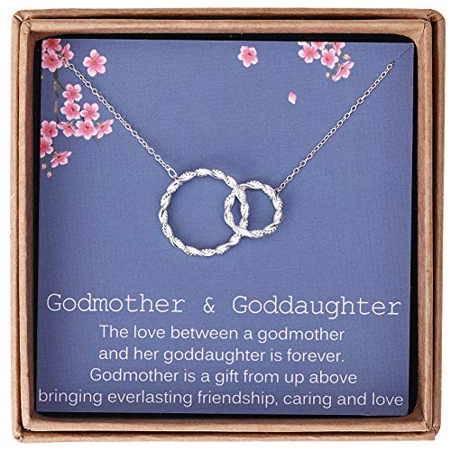 Gifts for Godmother from Goddaughter - Sterling Silver Twisted Intertwined Double Circle Necklace Jewelry -Godmother Goddaughter Birthday with Message Card & Gift Box