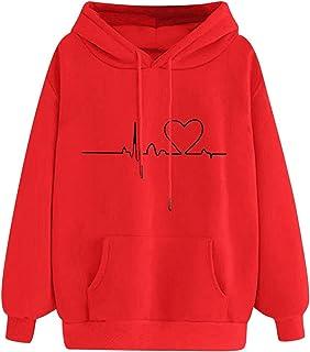 Générique Sweats à Capuche Femme Sweatshirts Imprimé De Amour ECG, Chemisiers Chaude Sweat à Capuche, Lâche Pull Blouse To...