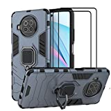 QCMM for Xiaomi Redmi Note 9 Pro 5G / Xiaomi Mi 10T Lite 5G Kickstand Case with Tempered Glass Screen Protector [2 Pieces], Hybrid Heavy Duty Armor Dual Layer Anti-Scratch Case Cover, Blue