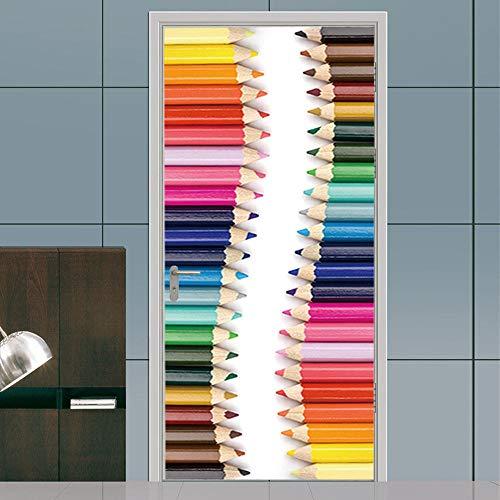 geen merk 3D Deur Mural Gekleurde Potloden Home Decoratie Muurschilderingen Decals Woonkamer Kwekerij Restaurant Hotel Café Office Verwijderbare Zelfklevende Stickers.77X200Cm