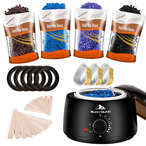 Waxing Kit for Women Men, Painless Hair Removal Wax Warmer with 4 Packs Hard Wax Beans and 20 pcs Wooden Applicator Sticks, Relaxing Home Wax Kit for Body, Legs, Face, Underarm, Bikini, Brazilian