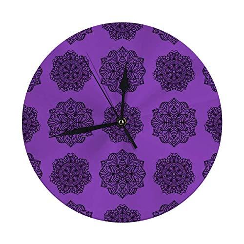 Reloj de pared con diseño de henna de 24,8 cm, diseño de flor de Mehndi marrón