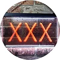 XXX Adult Rated Movie Illuminated Dual Color LED看板 ネオンプレート サイン 標識 白色 + オレンジ色 400 x 300mm st6s43-i0791-wo