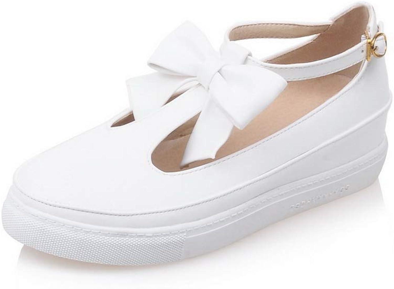 BalaMasa Womens Comfort Solid Bows Hiking Urethane Walking shoes APL10562