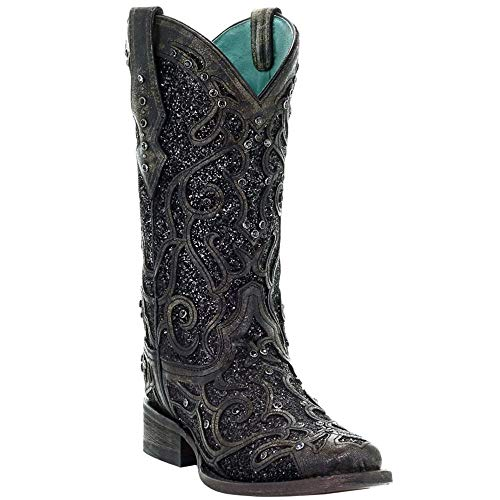 CORRAL Women's Glitter Inlay and Studs Western Boot Square Toe Black 8.5 M