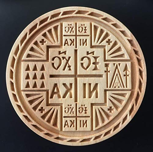 GRECIAN Stamp For The Holy Bread Orthodox Liturgy/Wooden Hand Carved Traditional Prosphora НИКА NIKA *GREEK* #39 (Diameter: 3.15-7.87 inches / 80-200 mm)
