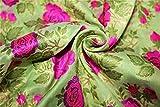 TheFabricFactory 44-BRO655 Brokat-Stoff, Pista-Grün x Pink