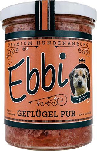 Wuff & Mau Bio Hundefutter Geflügel Pur mit Geflügel und Hähnchen Ebbi Inhalt: 400g Hundenahrung im wiederverschließbarem Glas (4 x 400g)