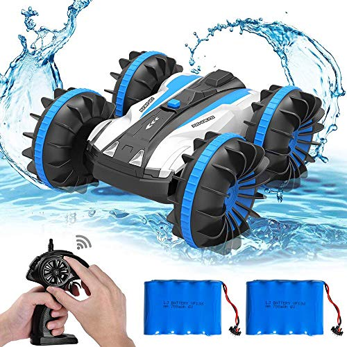 FSTgo 2 in 1 Remote Control Boat RC Cars Off Road Truck 4WD 2.4Ghz Land Water RC Toy Car Multifunction Waterproof Stunt Radio Controlled Vehicle with Rotate 360 Electric Car Toy