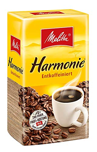 Melitta gemahlener Röstkaffee, Filterkaffee, besonders sanftes Aroma, Harmonie entkoffeiniert, 500g